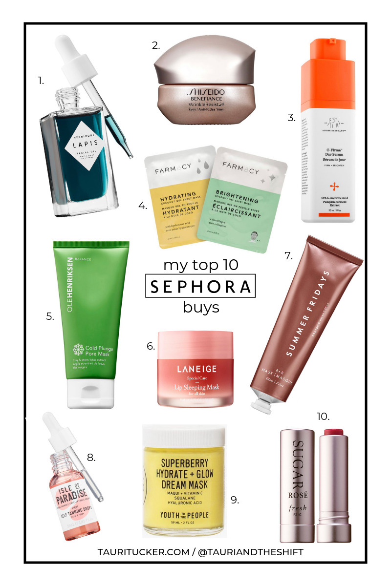 my top 10 Sephora purchases tauritucker.com